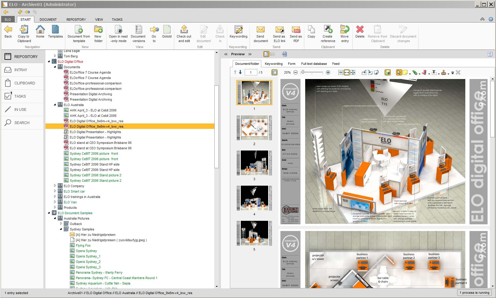 Elo document management software interface